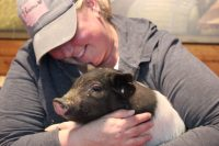 Lisa Smith with a piglet