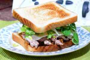 Solomillo de cerdo y cebolla caramelizada es una pareja segura. Con queso de oveja curado y lechuga más todavía y entre pan tenemos este sandwich de cena