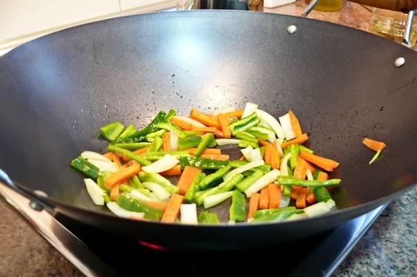 verduras en wok