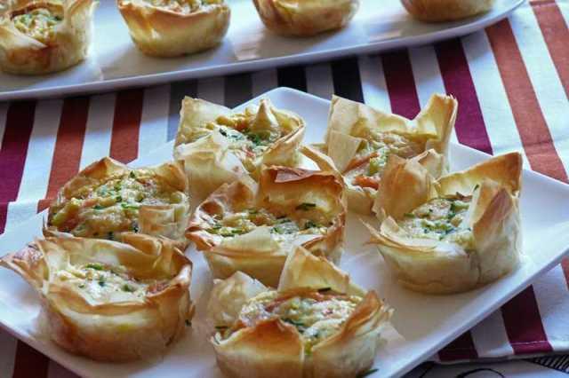 Tartaletas de salmon y calabacin