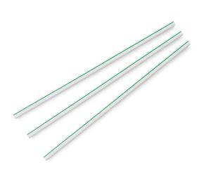 Standard green stripe 5mm ecovio straw, 8.25in