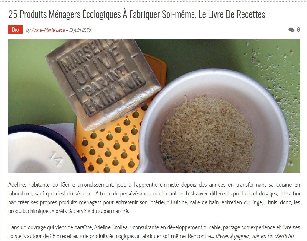 """Interview au sujet du livre """"25 recettes de produits ménagers écologiques"""" par le Valgirardin"""