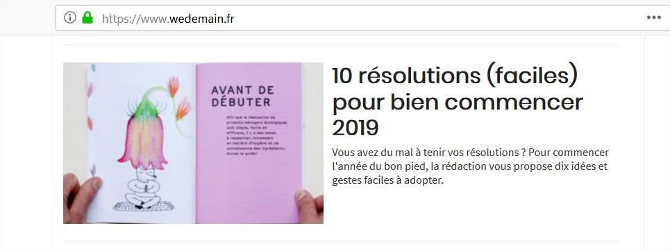 WE demain : résolutions écolo 2019
