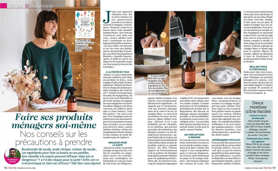 """Article """"faire ses produits ménagers soi-même"""" dans Télé Star"""