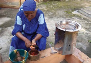 A woman cooking with the Save80 Fuel Efficient Woodstove