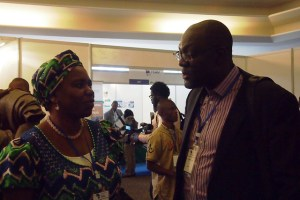 AMCOW's interim President and Nigeria's Honourable Minister of Water Resources, Mrs Sarah Reng Ochekpe (left), with the Country Representative of WaterAid Nigeria, Dr. Michael Ojo