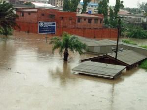 A flooded neighbourhood off Allen Avenue, Ikeja after the June 2011 rainfall