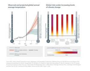 Figure 1: Global impacts for different emissions scenarios  IPCC's AR5 and Africa: Climate will change inevitably till 2050 Global impacts for different emissions scenarios 300x236