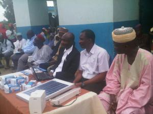 From right: Local chief at Roguwa, Dr Akindeji Falaki of the National Orientation Agency (NOA and Etiosa Uyigue of the GEF-UNDP Energy Efficiency Programme, during the Inception workshop  Nasarawa villages get access to sustainable energy IMG00536 20140814 1145 300x225