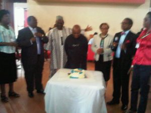 Prof Emeritus David Okali (middle) celebrates his birthday during the symposium. He is flanked by Prof Chid Ibe, Prof (Mrs.) Margaret Okorodudu-Fubara and Prof Adeniyi Osuntogun
