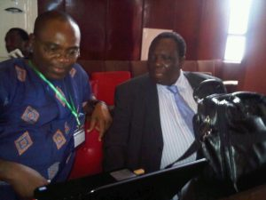 Prof Adeniyi Osuntogun (right) and Prof Chinedum Nwajiuba
