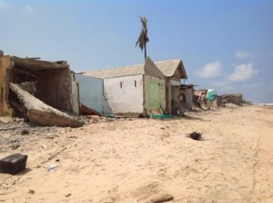 The only primary health care centre in the community has been destroyed and abandoned by health workers as the raging sea eats away land and destroys buildings  Lagos community at mercy of Atlantic Ocean (in photos) Okun Alfa 2 300x224