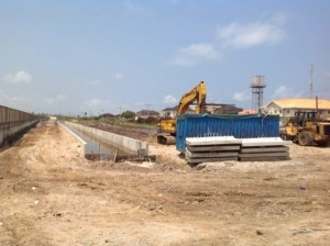 Recently, the state government commenced the construction of a drainage channel that is expected to align with a nearby channel in another community. This will allow the flood water in Okun-Alfa to flow out into the Lagos Lagoon. Residents see the drainage construction as a source of relief from the hardship they have experienced whenever there is a heavy downpour and surge of the Atlantic Ocean.  Lagos community at mercy of Atlantic Ocean (in photos) Okun Alfa 7 300x224