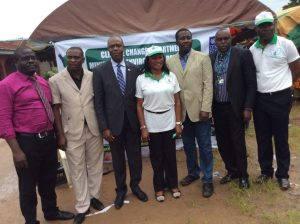 After the event: left to right: an official of the Delta State Ministry of Environment, Monday Itoghor, CEO of EnviruMedic; Ajemrona; Adun; Duku; and, another official of Delta Environment Ministry  Empowering Delta women with 'clean' eco-stoves (in photos) photo 5 300x224
