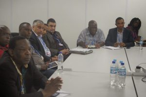 Delegates at the meeting. Dr Uyi Ojo of the Environmental Rights Action/Friends of the Earth Nigeria (ERA/FoEN) is at extreme left)  Civil Society's visit to African Group at COP 20 in photos AG3 300x199