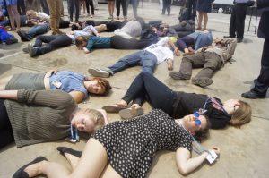 Die 1  Mass 'die-in' protests as Lima climate talks end Die 1 300x199