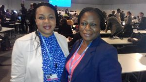 Mrs Abiola Awe (Assistant Director, DCC) (right) with Ann Umar (DCC)  Nigerian delegation to Lima COP 20 in photos IMG 20141208 090801 300x168