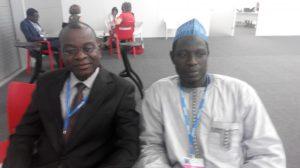 Prof. Francis Adesina (Obafemi Awolowo University, Ile-Ife) (left) with Aliyu Musa Yauri (Assistant Director, DCC)