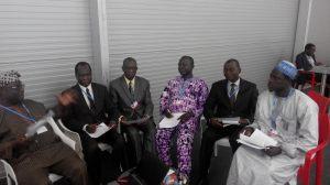 Prof. Olukayode Oladipo (left) stressing a point to (from left) Prof Daniel Gwary, Prof Mohammed Balarabe, Prof Ayuba Kuje, Prof Francis Adesina and Alhaji Aliyu Musa Yauri, during a meeting