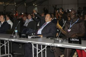 Libyan and Liberian delegates at the opening session  Lima COP 20 opening ceremony in pictures Opening 4 300x199