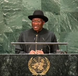 President Goodluck Jonathan at the UN. Photo credit: csdevnet.org  Demand sound UN goals, Nigeria urged GEJ 300x292