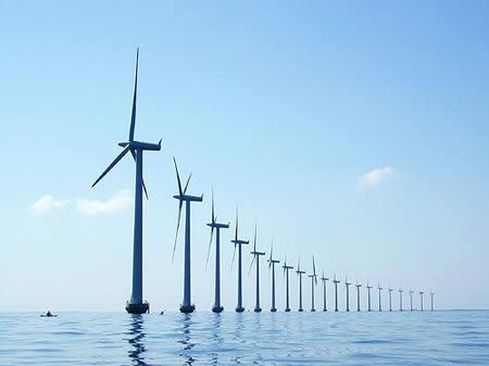 Wind energy: Offshore wind turbines. Photo credit: offshorewind.biz  Promising prospects for solar, wind energy Offshore wind turbines