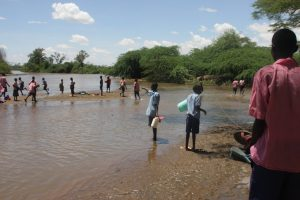 Children of Katilu Primary School fetching water at River Turkwel