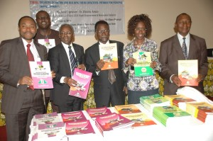 L-R: Principal Investigation Officer, Nigerian Academy of Science (NAS) Youth Development Project,  Prof. Akinyinka Omigbodun; President of NAS, Prof. Oyewale Tomori; Academy Secretary, Biological Science, Prof. Temitayo Sokunbi; Principal Consultant, Lonadek, Dr Ibilola Amao and Academy Secretary, Physical Sciences, Prof. Domingo Okorie, presenting Project Report on NAS-Youth Development Project, at a Roundtable with the Media, in Lagos …on Friday, August 28, 2015. Photo credit: Sunday Eshiet