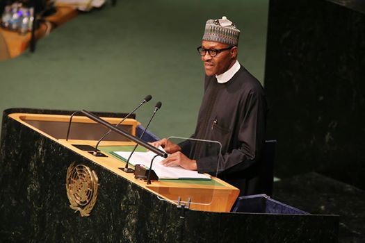 President Muhammadu Buhari addresses the summit at the General Assembly hall during the 70th UN general Assembly on 25th Sept 2015