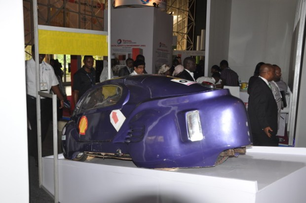 One of the student-built cars for the Shell Eco-marathon Africa contest in Johannesburg, South Africa later this week