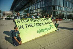 Passing across the message... Photo credit: AFP/Mujahid Safodien  Photos: Protest at World Forestry Congress in Durban Greenpeace2