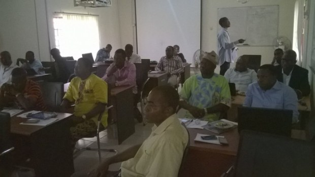 Participants at the ongoing five-day workshop on Climate Information for Adaptation and Policy Development, organised by the Federal University of Technology, Akure in collaboration with WASCAL GRP-WACS and Department of Meteorology and Climate Science at the WASCAL Centre, FUTA, Akure, Ondo State  Photos: Opening of FUTA climate change workshop IMG 20150915 WA0031 e1442334992974