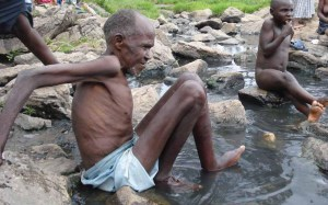 Villagers soak themselves in the famous Kitagata natural hot springs in Kitagata, Sheema district to have their various ailments healed. Kitagata hot springs are well known for their curative waters. Patients from as far as 100km flock these springs in a bid to have their diseases including rheumatism and arthritis healed