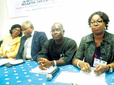 Deputy Vice Chancellor, Ekiti State University, Prof Ibiyinka Ogunlade (left); UNIDO Country Representative and Regional Director for ECOWAS, Dr. David Tommy; representative of the Permanent Secretary, Federal Ministry of Environment, Mr. Theodore Nwaokwe; and a representative of the National Environmental Standards Regulation and Enforcement Agency (NESREA) during the workshop in Lagos, a week ago