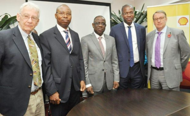 L-R: Director, Project Gaia International, USA, Mr. Harry Stokes; Managing Director, Project Gaia Prospects Limited, Mr. Joe Obueh; Managing Director, Shell Nigeria Exploration and Production Company, Mr. Bayo Ojulari; General Manager, External Relations, Shell, Mr. Igo Weli; and the General Manager, Production, Shell Nigeria, Mr. David Martin, at the signing of a partnership agreement for a pilot study on the use of (M)Ethanol clean cookstoves, at the SNEPCo office, Lagos… on Friday.