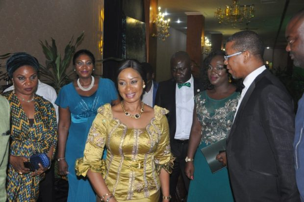 Wife of the Governor of Ogun State, Mrs. Olufunso Amosun (in gold), in the company of Chairman, National Executive Council, Nigerian Conservation Foundation (NCF), Chief Ede Dafinone and other guests during the NCF Green Ball  Photos: NCF discusses reforestation at Lagos Green Ball NCF 1