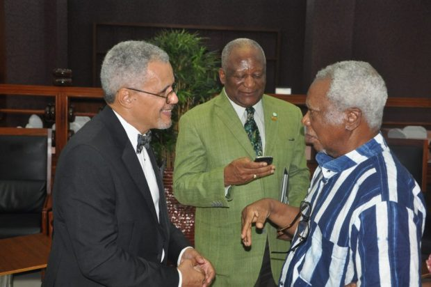 NCF Council Member, Mr. Desmond Majekodunm (left); environmentalist, Dr. Newton Jibunoh; and a guest during the NCF Green Ball   Photos: NCF discusses reforestation at Lagos Green Ball NCF 3 1024x680