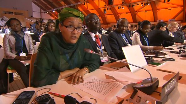 Nigeria's Environment Minister, Amina Mohammed; with Director, Department of Climate Change, Dr Samuel Adejuwon, and other delegates as the minister addresses global delegates at the close of COP21 on Saturday  How Paris Agreement will impact the world, by delegates, groups Amina2