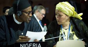 President Buhari with Minister of Environment Mrs Amina Ibrahim Mohammed