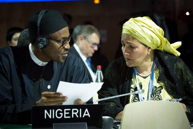 President Buhari with Minister of Environment Mrs Amina Ibrahim Mohammed at the UN Climate Change Conference COP 21, in Paris, France on 30th Nov 2015  Photos: Buhari addresses global leaders at COP21 Buhari 3