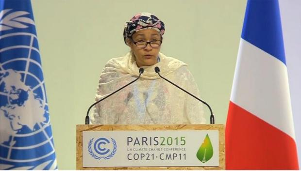 Environment Minister, Mrs Amina J. Mohammed, delivering a speech at the High Level Segment of COP21 in Paris, France in December, 2015. She is to to serve in the AU Reform Steering Committee