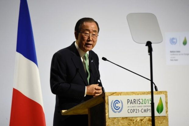 UN Secretary-General, Ban Ki-moon at COP21. Photo credit: ibtimes.co.uk
