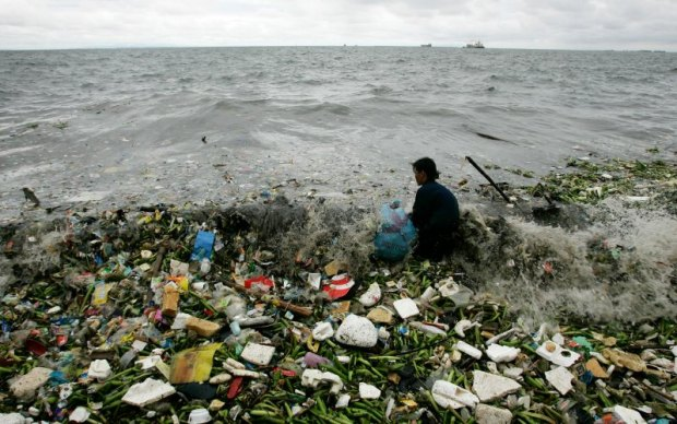 A water body littered with plastic and other waste product. Photo credit: Cheryl Ravelo/Reuters