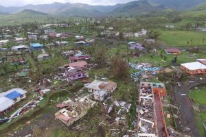 The cyclone caused widespread damage around the town of Rakiraki in Fiji's Ra Province.  Fiji begins post-Cyclone Winston cleanup amid call for climate action cyclone 1 300x200