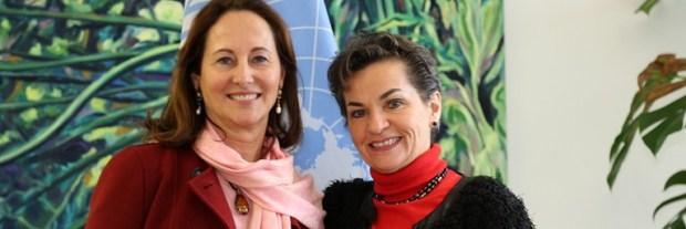 Ségolène Royal (left) and Christiana Figueres. Photo credit: newsroom.unfccc.int  New COP21 president sets agenda to build Paris Agreement momentum royal figueres
