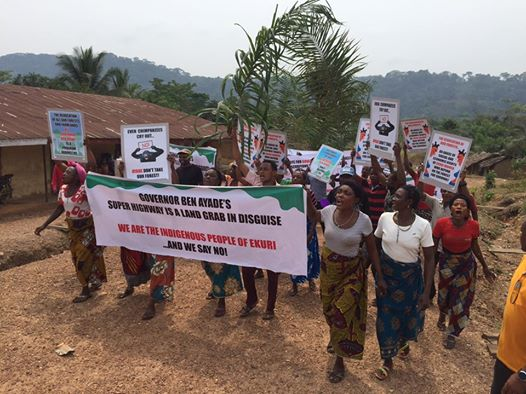 Ekuri people kicking against the super highway project that threatens hectares of forests   Discordant vibes: Signing Paris Agreements and destroying rain forests Ekuri1