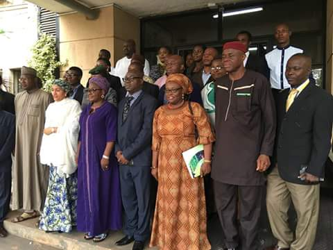 A group photograph featuring, among others, Environment Minister, Mrs Amina Mohammed; Environment Minister of State, Ibrahim Usman Jibril; Director-General of NABDA, Professor Lucy Ogbadu; DG/CEO of NBMA, Mr. Rufus Ebegba; and Dr. Rose Maxwell Gidado, Country Coordinator of OFAB