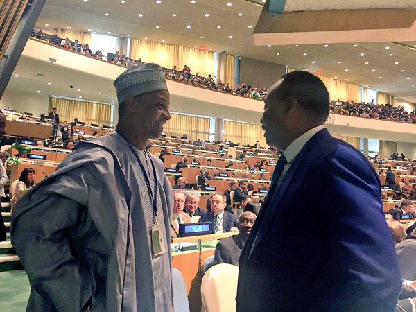 Amb. Usman Sarki (left) with President Mahamadou Issoufou of Niger