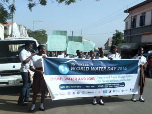 The street procession of school children marking 2016 World Water Day in Ghana