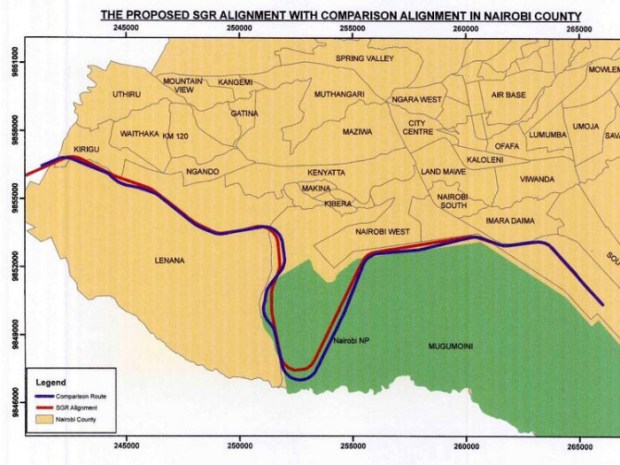 This December 2015 proposed route of the SGR has been abandoned. The railway will still cut through the park on a raised platform without making the deep cut into the park.   Railway route through Nairobi National Park abandoned map sgr kenya e1460987541679